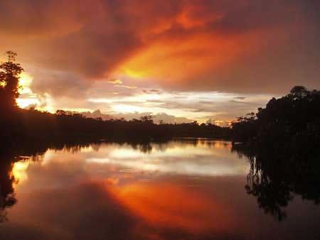 sunset, закат над рекой Напо