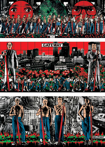 Gilbert & George, Class war, militant, gateway, 1986, Triptych